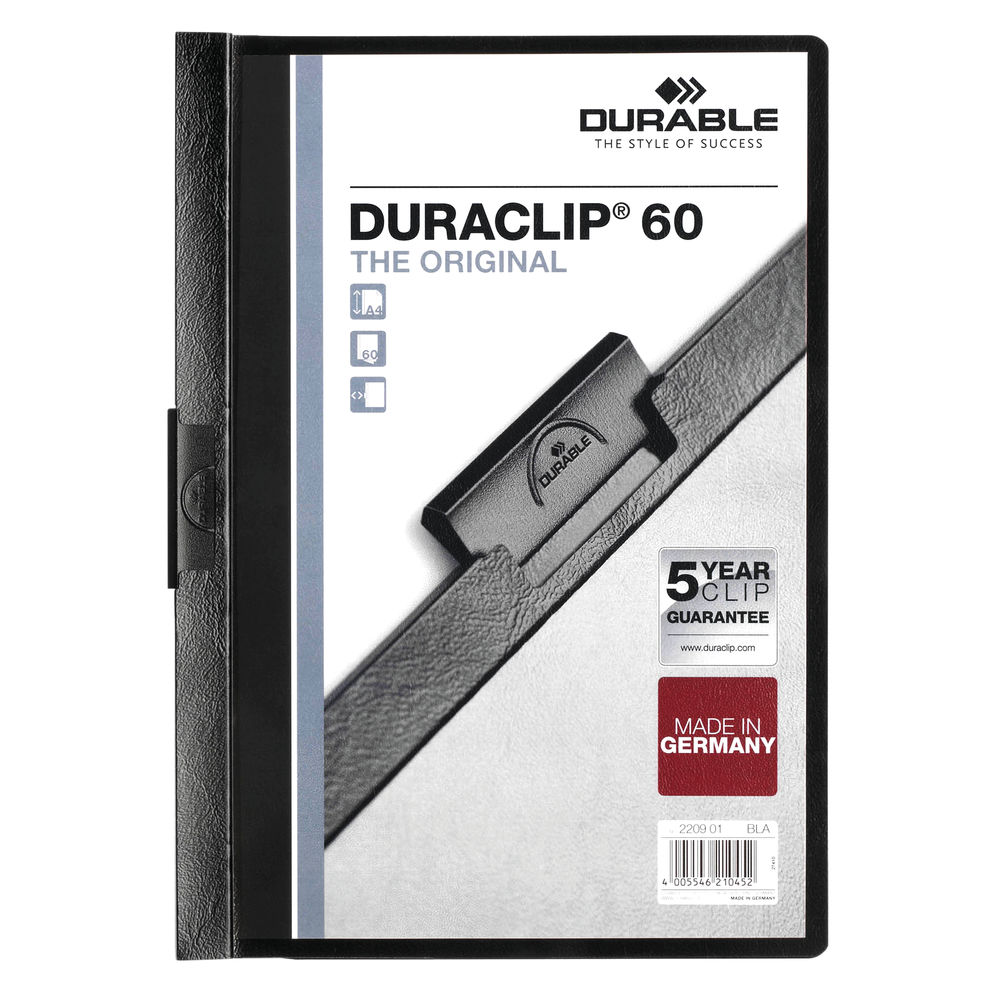 Durable 6mm Duraclip File A4 Black (Pack of 25) 2209/01