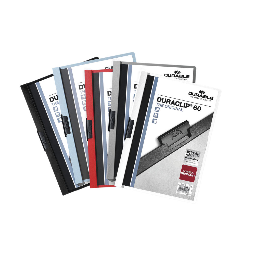 Durable Assorted A4 6mm Duraclip File, Pack of 25 - 2209/00