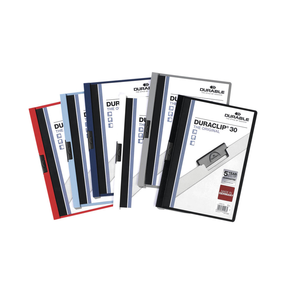 Durable Assorted A4 3mm Duraclip File, Pack of 25 - 2200/00