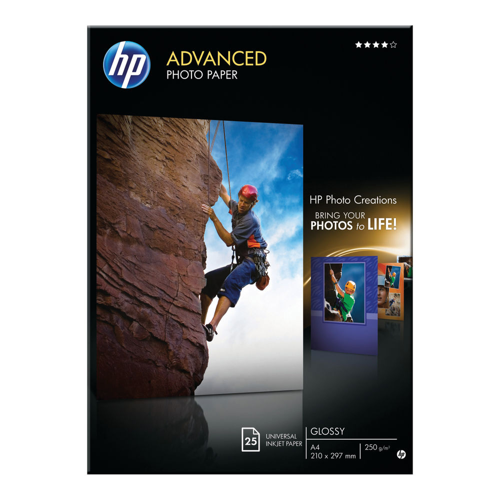 HP Advanced A4 Glossy Photo Paper, 250gsm, Pack of 25 - Q5454A