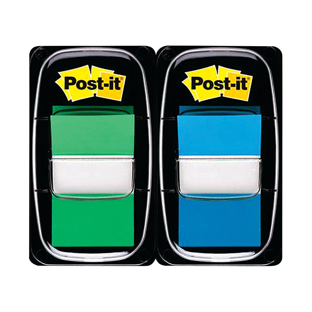 Post-it 25mm Green/Blue Index Tabs, Pack of 100 - 680-GB2