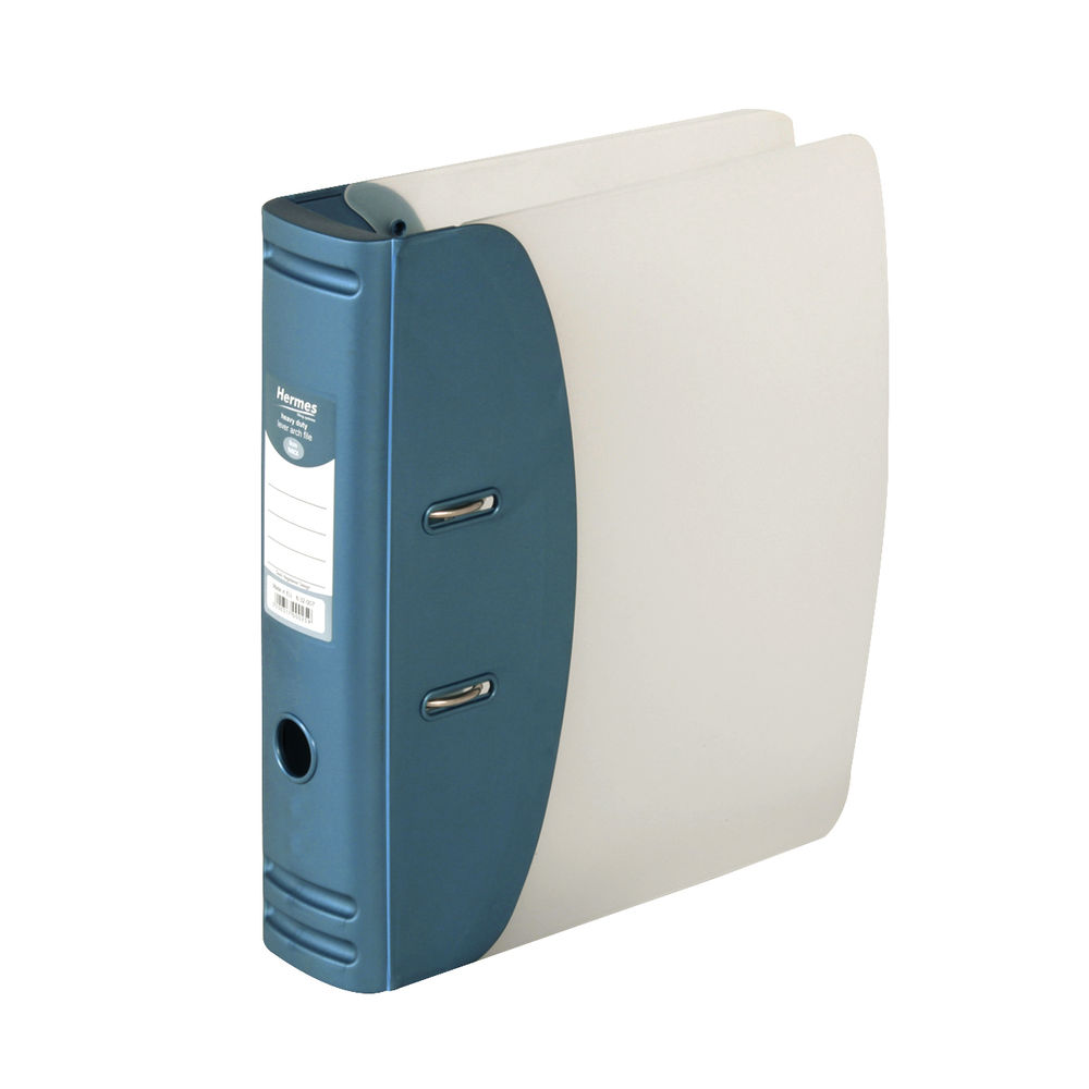 Hermes Metallic Blue A4 Heavy Duty  Lever Arch File, 80mm - 832007