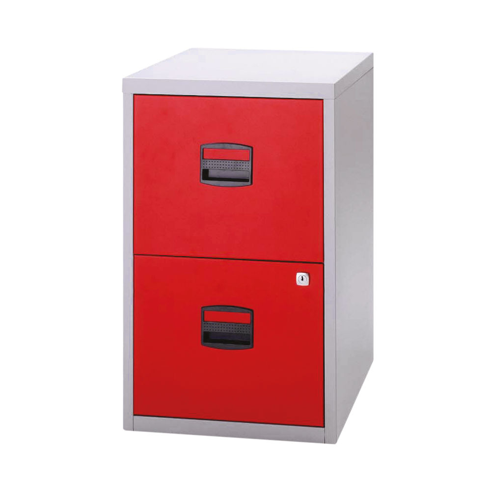 Bisley 672mm Grey/Red Home 2 Drawer Filing Cabinet - PFA2-8794