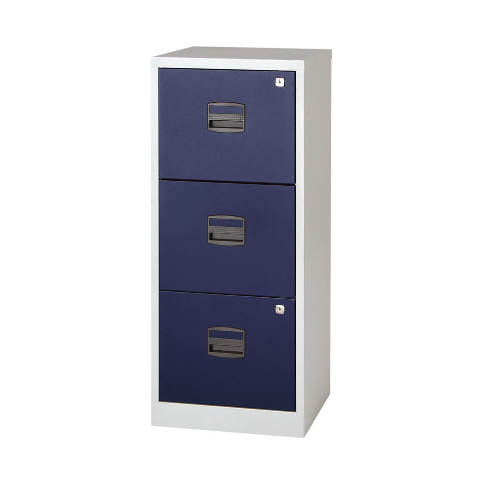 Bisley 1015mm Grey/Blue Home 3 Drawer Filing Cabinet - BY78727