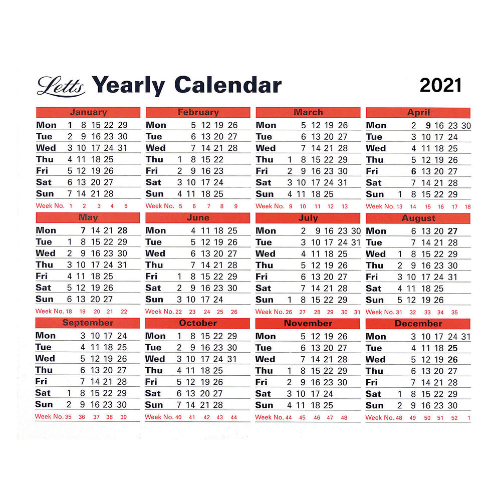 Letts Yearly Calendar 210 x 260mm 2021 21-TYC