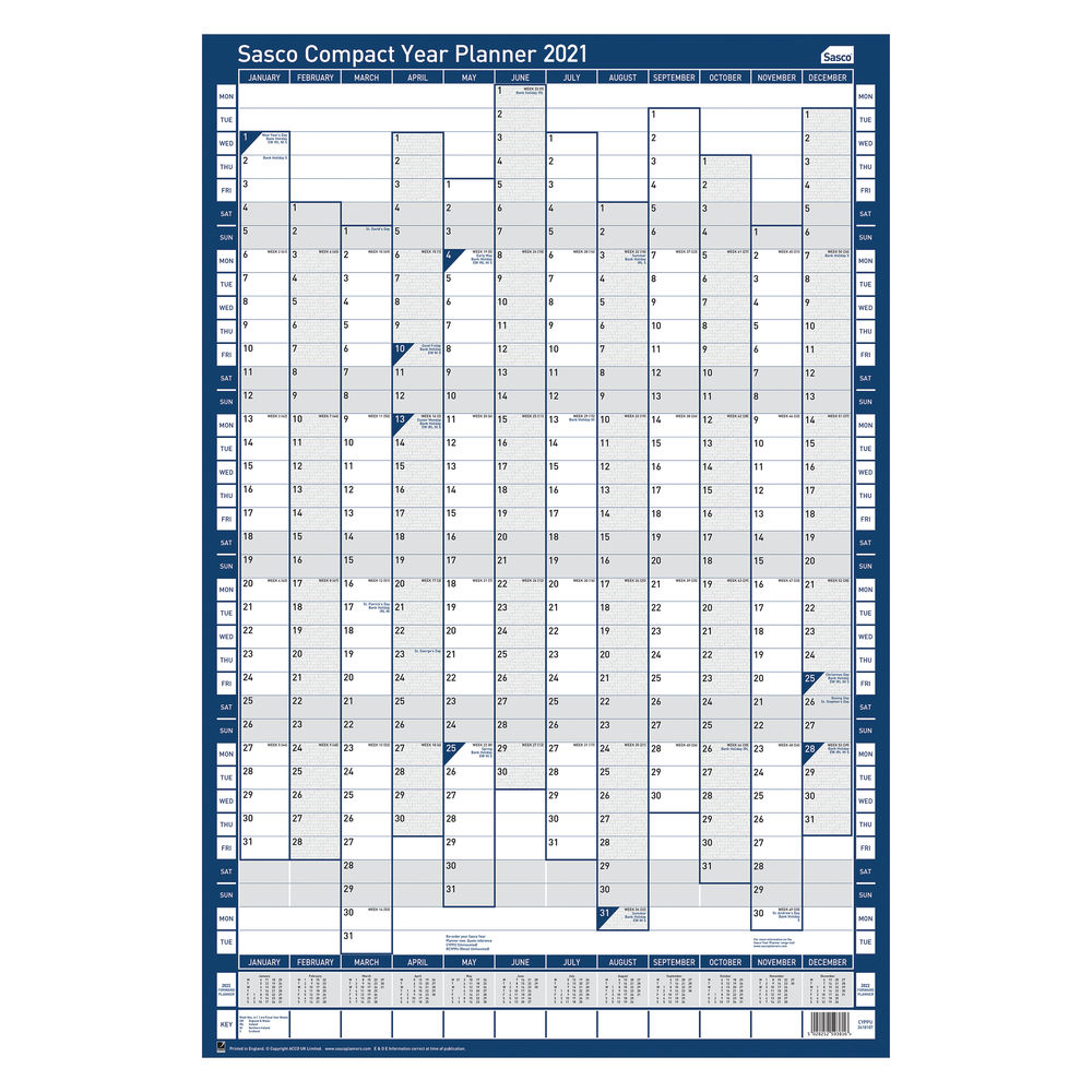 Sasco 2021 Portrait Compact Year Planner - 2410133