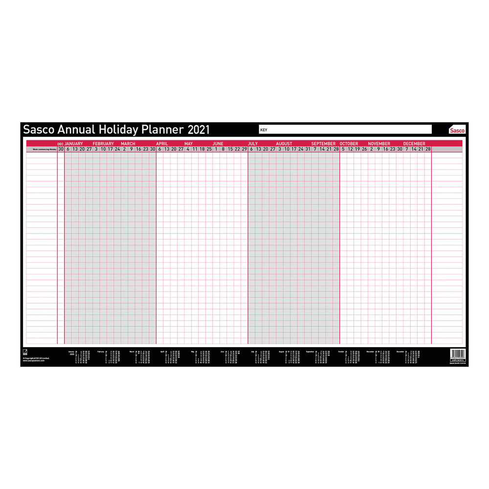 Sasco 2021 Unmounted Annual Holiday Planner - 2410142