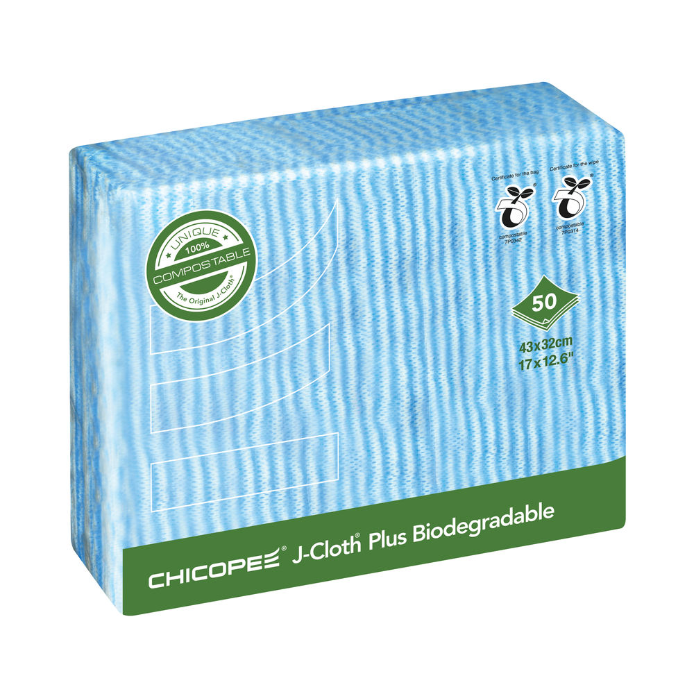 Chicopee J-Cloth Plus Biodegradable Blue (Pack of 50) JCL 10 B 74443