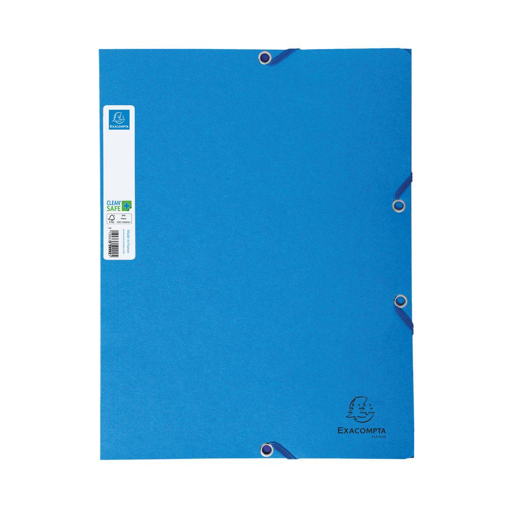 Exacompta A4 Blue Clean Safe Elasticated Folders (Pack of 5) – 56122E