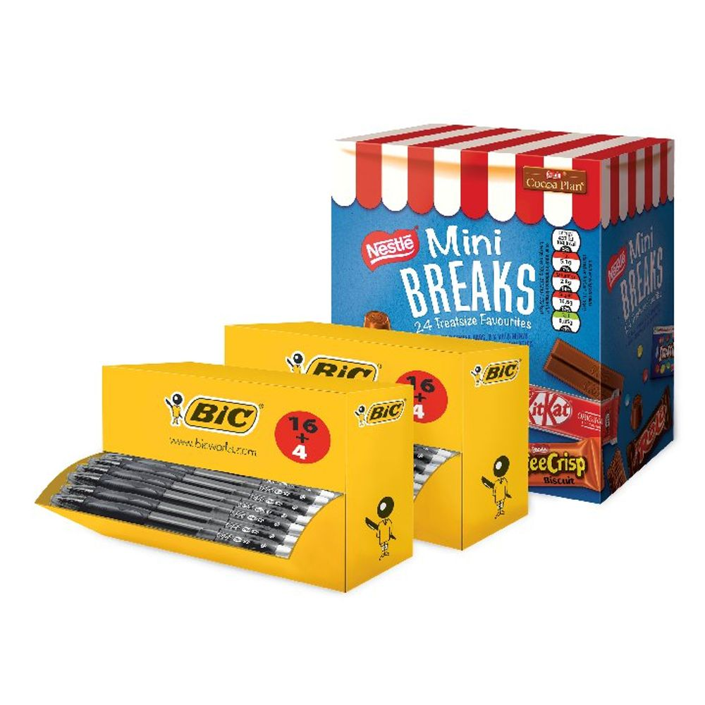 Bic Gelocity Pen Black (Pack of 40) FOC Nestle Mini Breaks BC810752