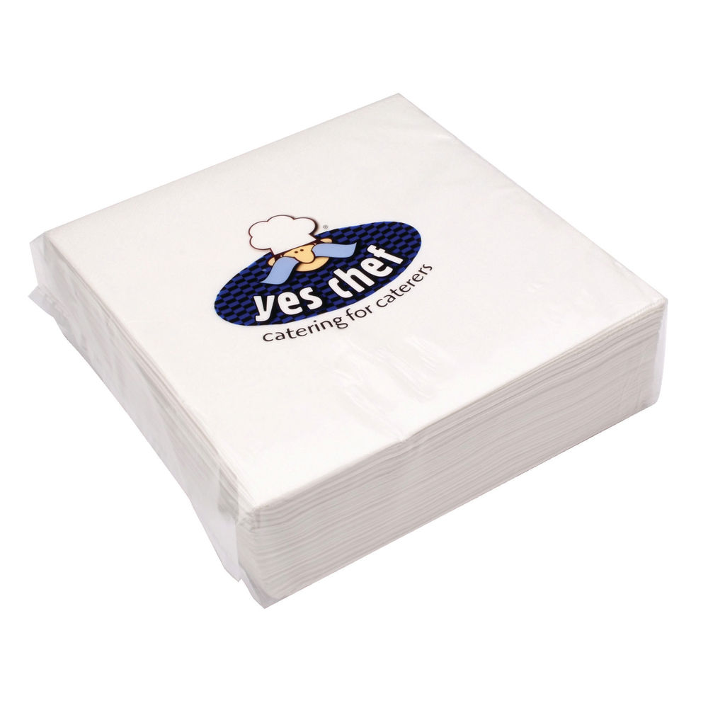 White 2-Ply Paper Napkins 400 x 400mm, Pack of 100- 0502122