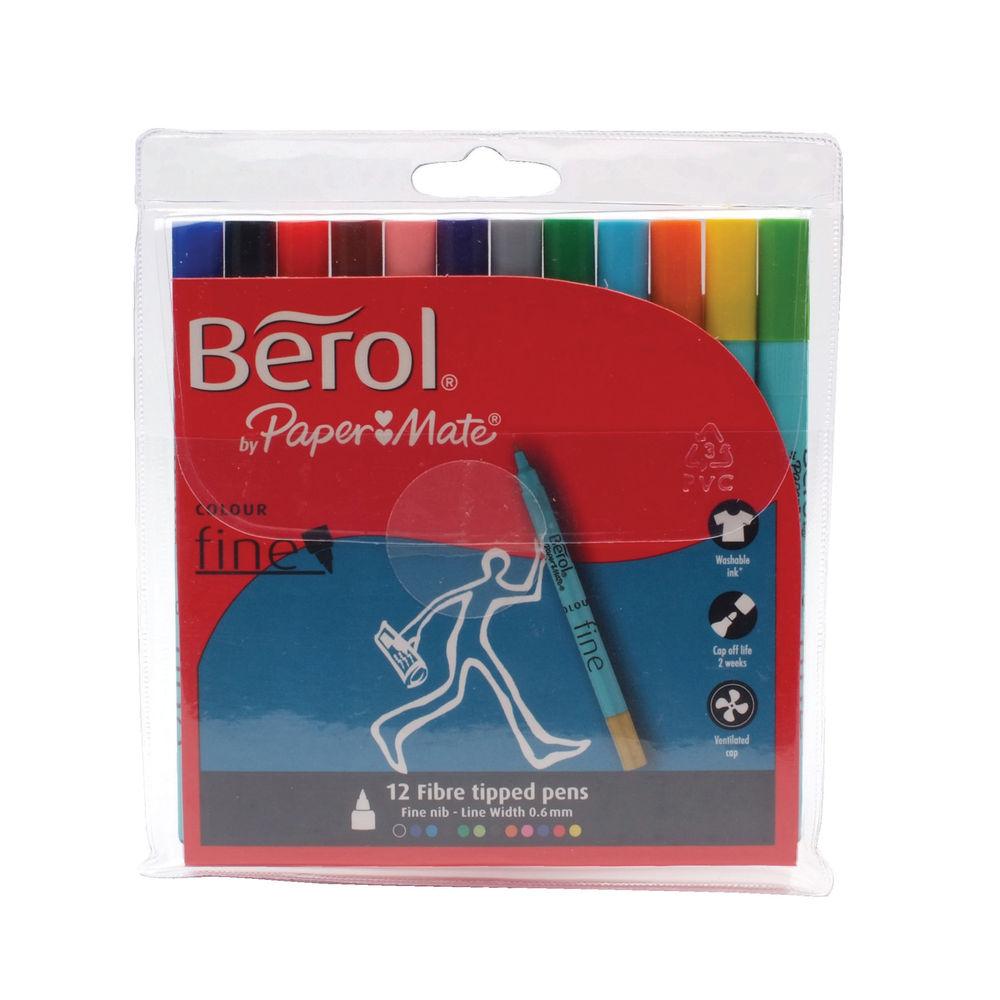 Berol Assorted Colour Fine Felt Tip Pens, Pack of 12 - S0376340