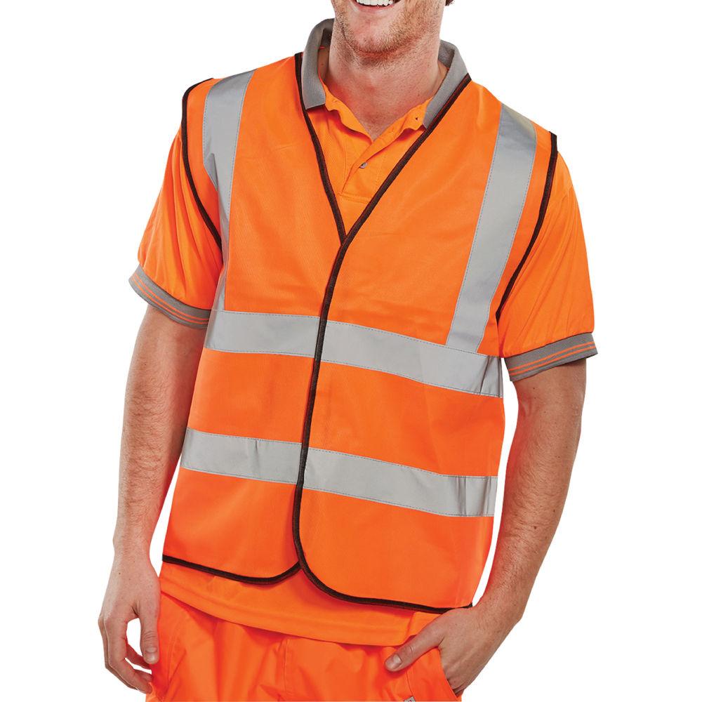 Large Orange Hi-Visibility Vest - WCENGORL