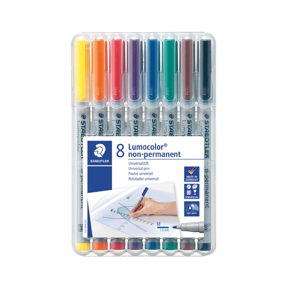 Staedtler Assorted Lumocolour Medium Non-Permanent Pens, Pack of 8 - 315-WP8