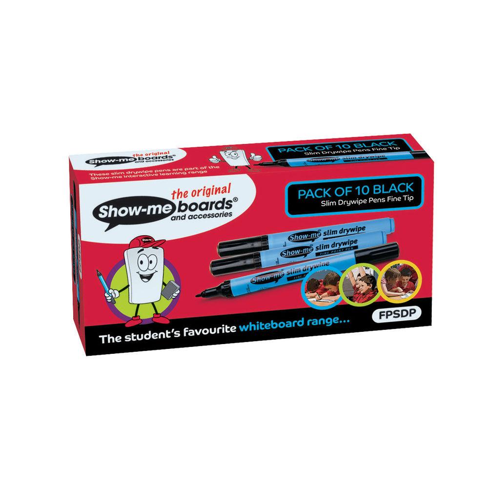 Show-me Black Fine Slim Barrel Drywipe Markers, Pack of 10 - FPSDP