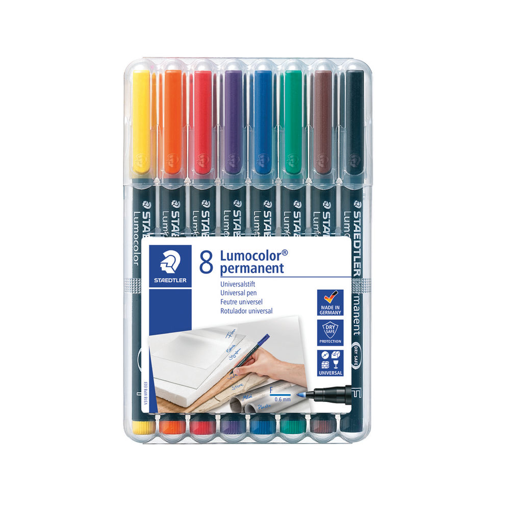 Staedtler Assorted Lumocolour Fine Permanent Pens, Pack of 8 - 318-WP8