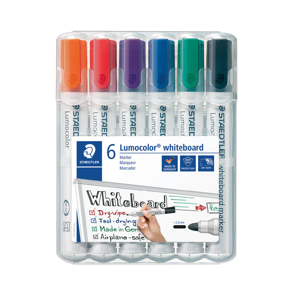 Staedtler Assorted Lumocolor 351 Drywipe Markers, Pack of 6 - 351 WP6