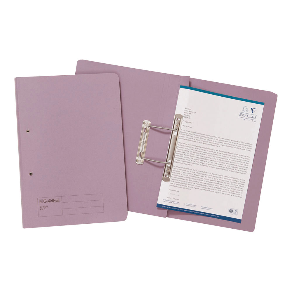 Exacompta Guildhall Transfer File 285gsm Foolscap Mauve (Pack of 25) 346-MVEZ