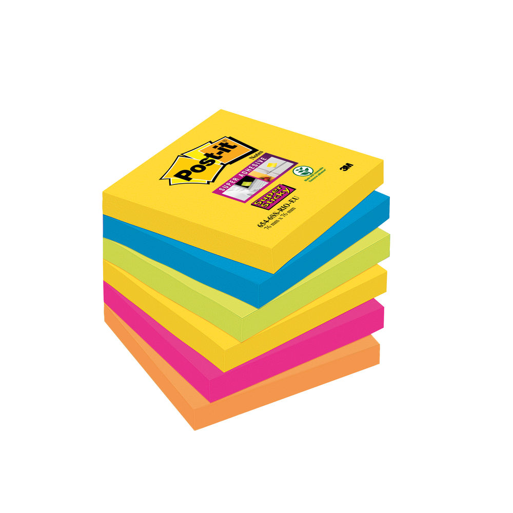 Post-it 76 x 76mm Rio Super Sticky Notes, Pack of 6 | 654-6SS-RIO-EU