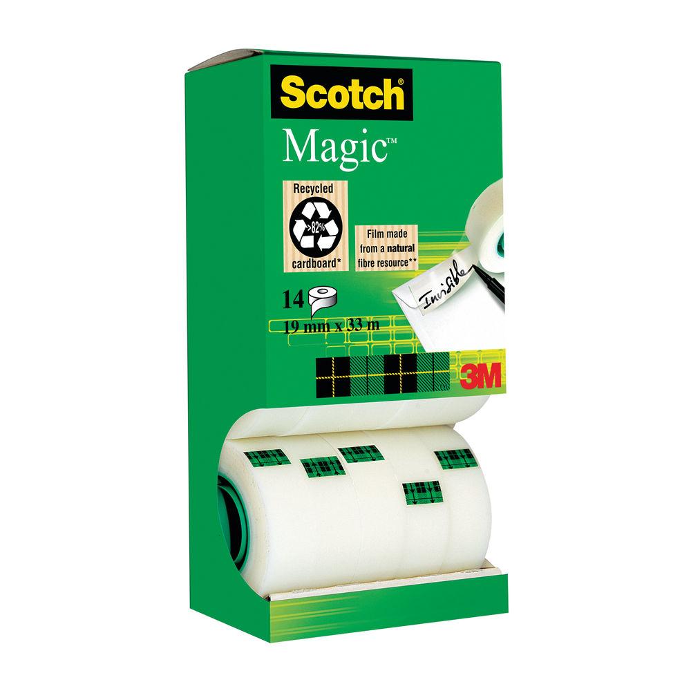 Scotch Tape - 19mm x 33m Magic Tape, Pack of 12 + 2 Free - 81933R14