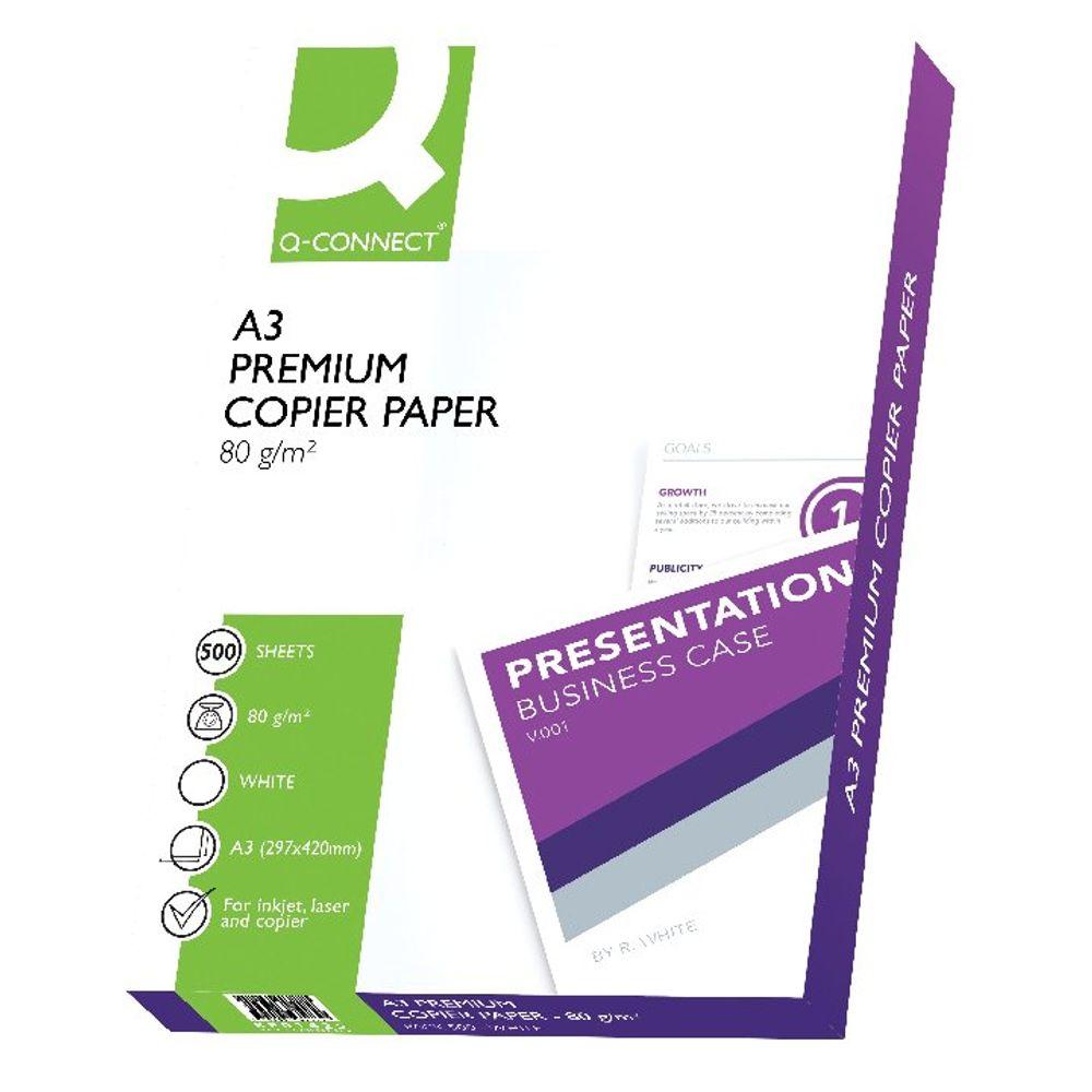 Q-Connect White A3 80gsm Premier Copier Paper (500 Pack