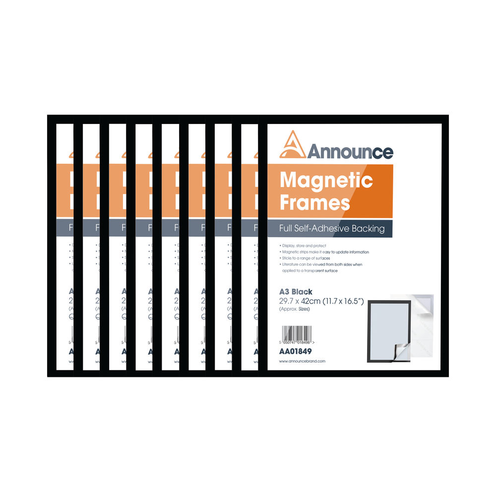 Announce Black A3 Magnetic Frames, Pack of 10 - AA01851
