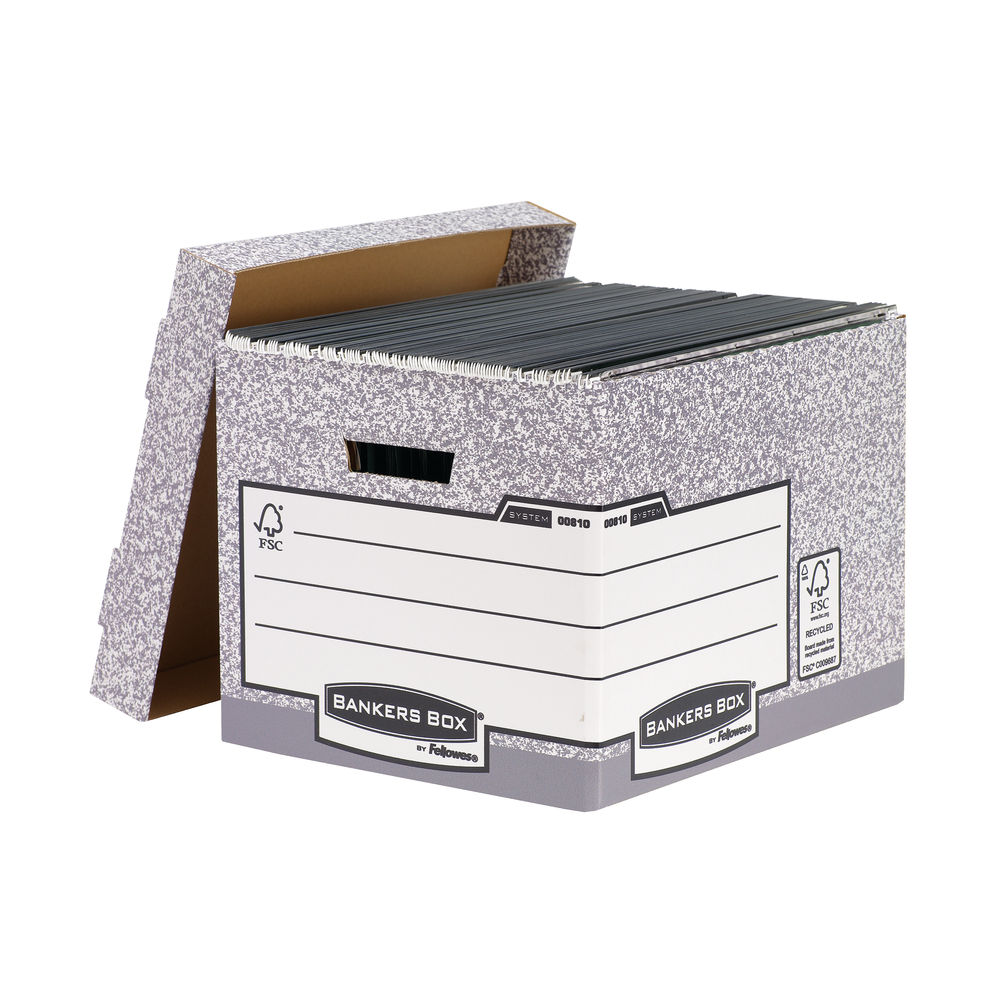 Bankers Box Grey Standard Storage Boxes, Pack of 10 - 00810-FF