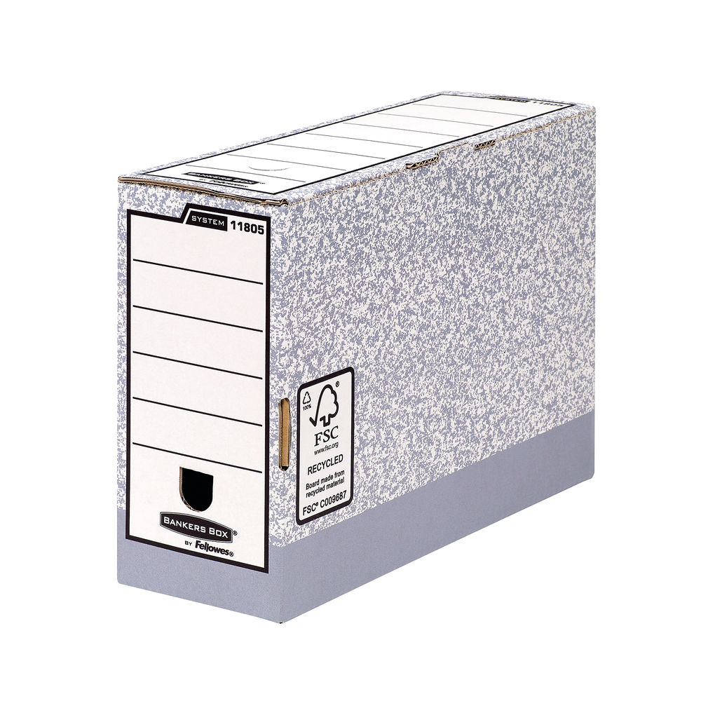 Bankers Box Foolscap Grey Transfer Files, Pack of 10 - 01805