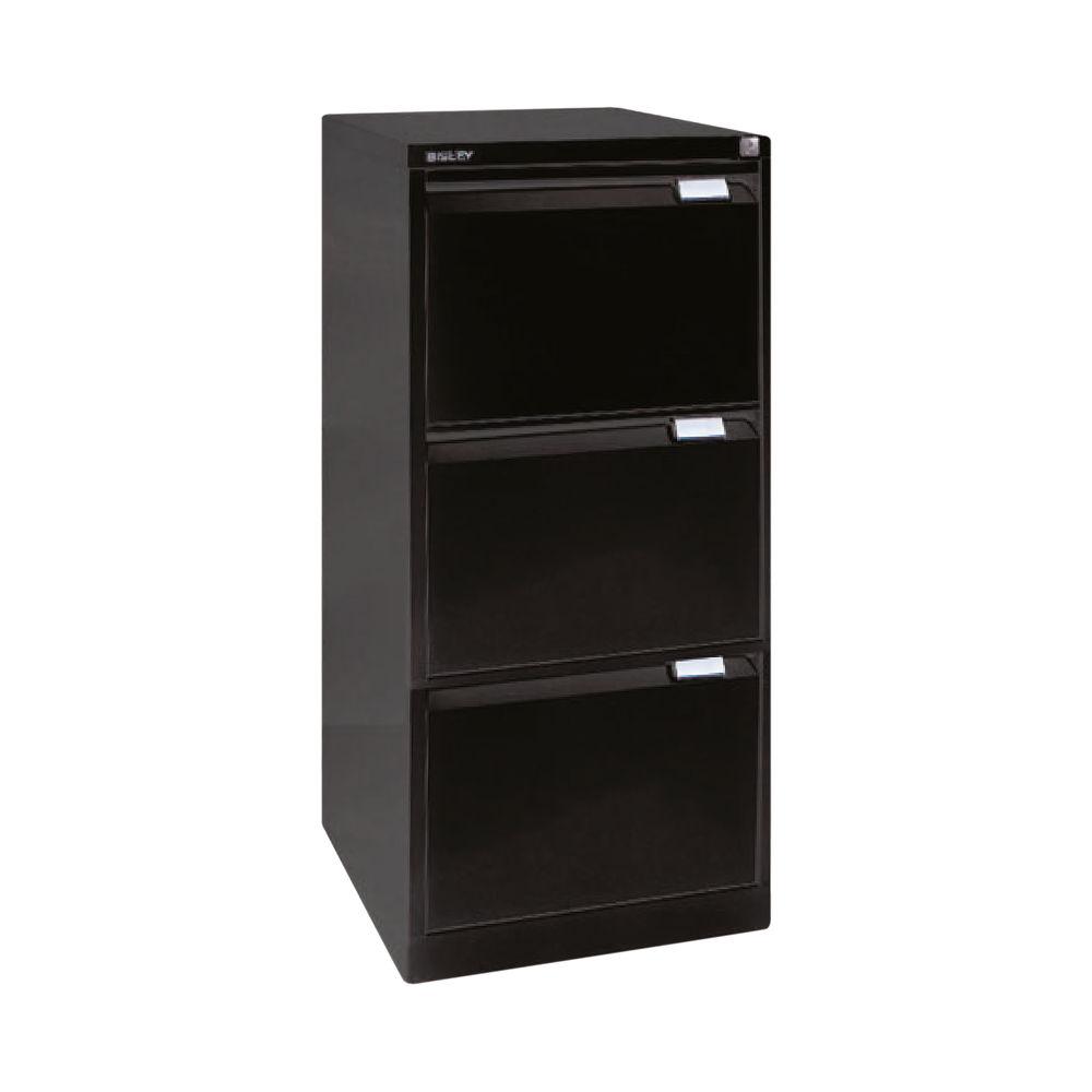 Bisley 1016mm Black 3 Drawer Flush Fronted Filing Cabinet - BS3E BLACK