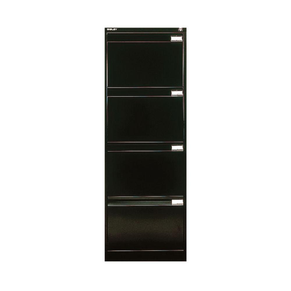 Bisley 1321mm Black 4 Drawer Flush Fronted Filing Cabinet - BS4E BLACK