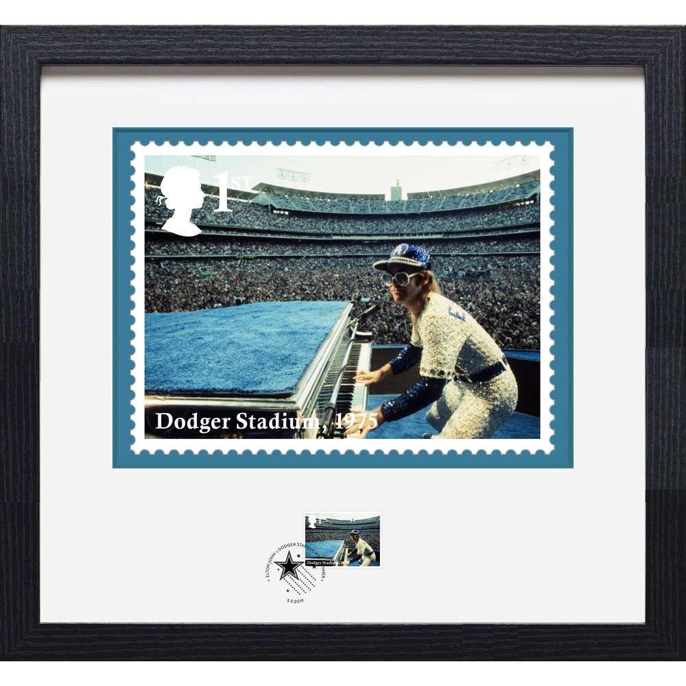 The Elton John Dodger Stadium Framed Stamp and Print