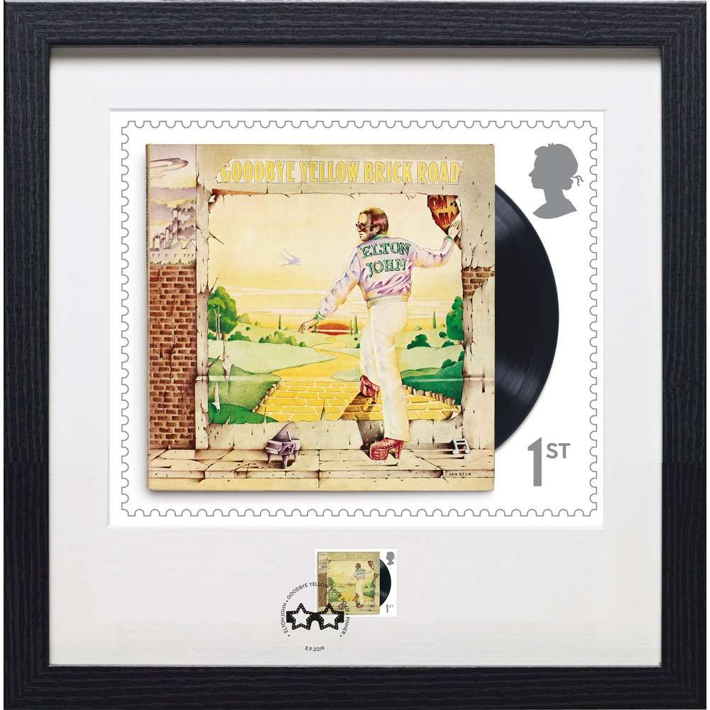 The Elton John Goodbye Yellow Brick Road Framed Stamp and Print