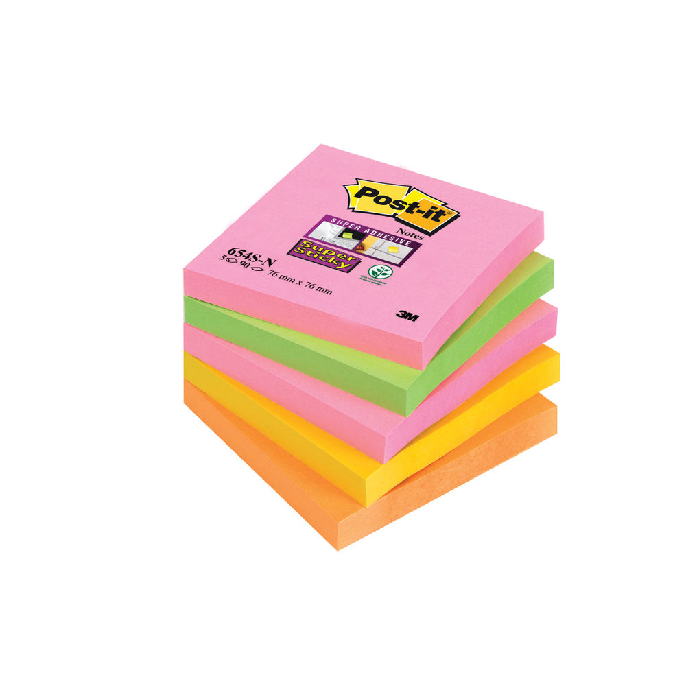 1e5b5eb9fa8 Post-It Super Sticky Notes 76x76mm Neon Rainbow 90 Sheets Pack 5 654-SN TF