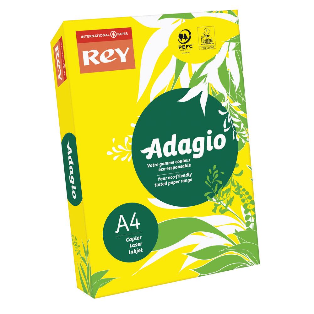 Rey Adagio Intense Yellow A4 Coloured Card, 160gsm - AY2116