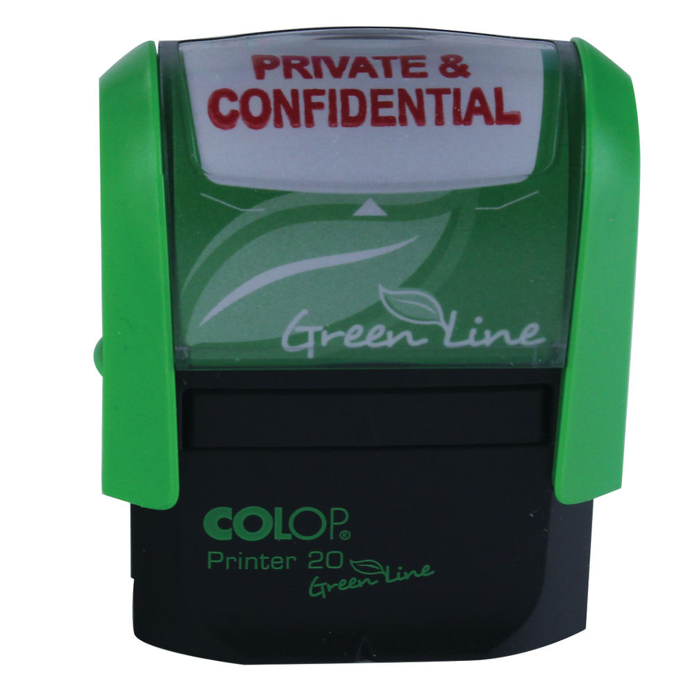 COLOP Green Line Word Stamp PRIVATE & CONFIDENTIAL Red P20GLPRI