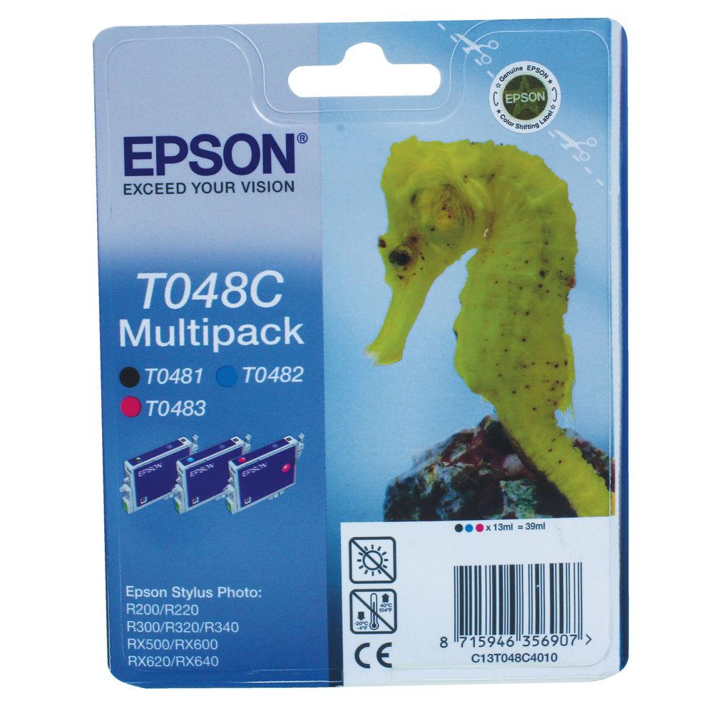 Epson T048C Cyan/Magenta/Black Inkjet Cartridge (Pack of 3) C13T048C4010