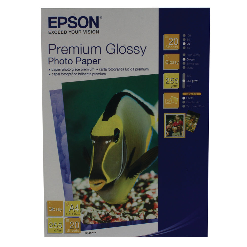 Epson Premium White A4 Glossy Photo Paper, 255gsm - 20 Sheets - C13S041287
