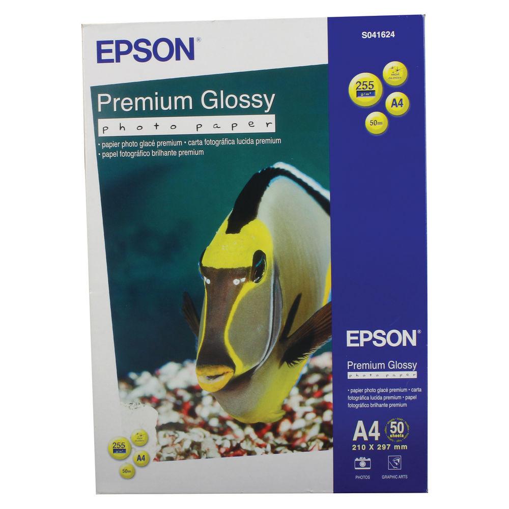 Epson Premium White A4 Glossy Photo Paper, 255gsm - 50 Sheets - C13S041624