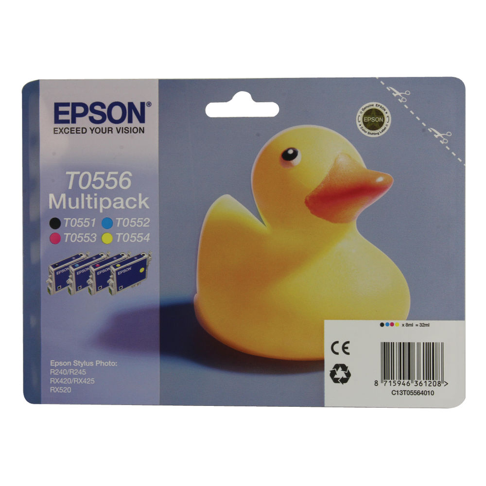 Epson T0556 Black and Colour Ink Cartridge Multipack - C13T05564010
