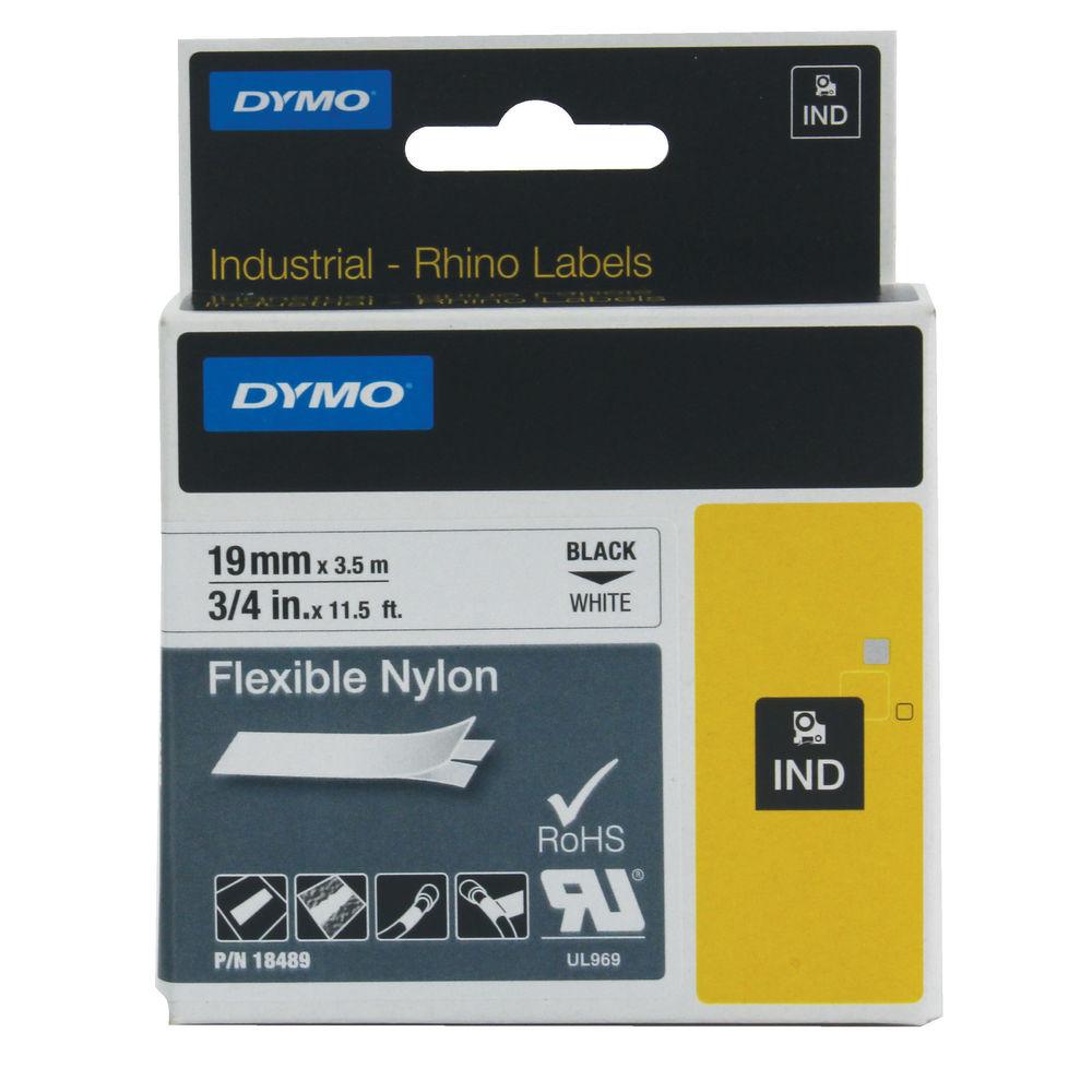 Dymo Rhino Nylon Label Tape, Black on White, 9mm x 3.5m - S0718120