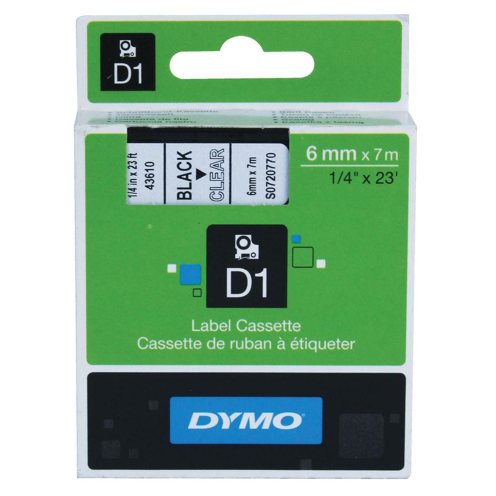 Dymo 1000/5000 Tape 6mm x 7m Black/Clear   43610