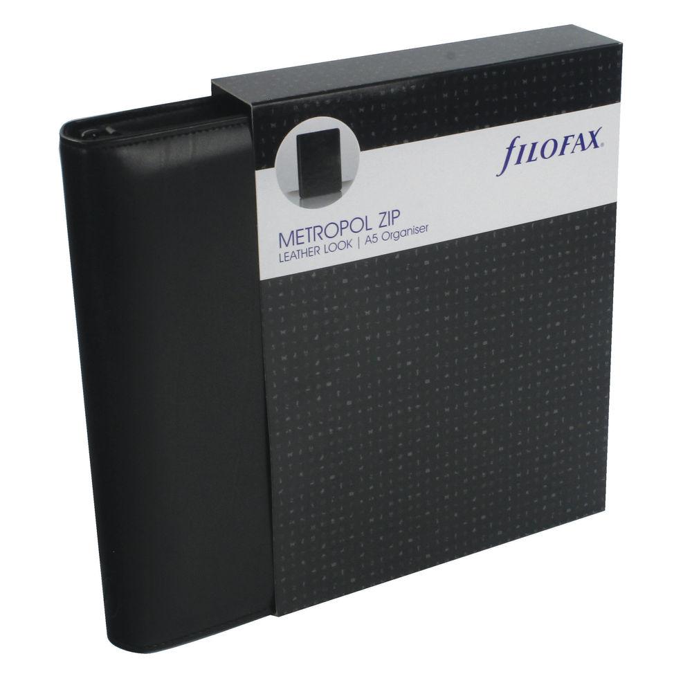 Filofax Metropol A5 Zip Personal Organiser, Black - 026979