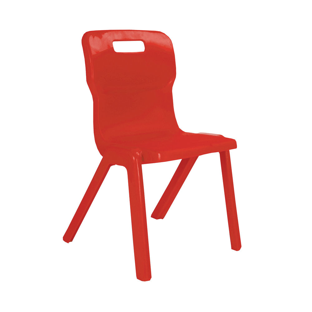 Titan 380mm Red One Piece Chairs, Pack of 10