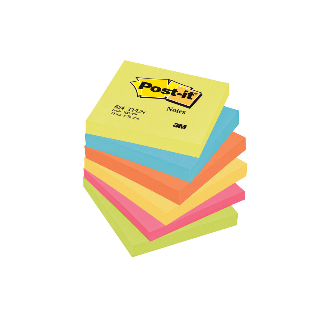 Warm Neon 76 x 76mm Post-It Notes Pack 654-TF