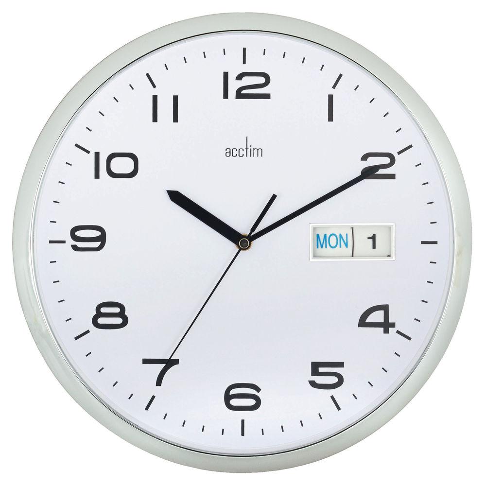 Acctim Supervisor Chrome and White Wall Clock - 21027