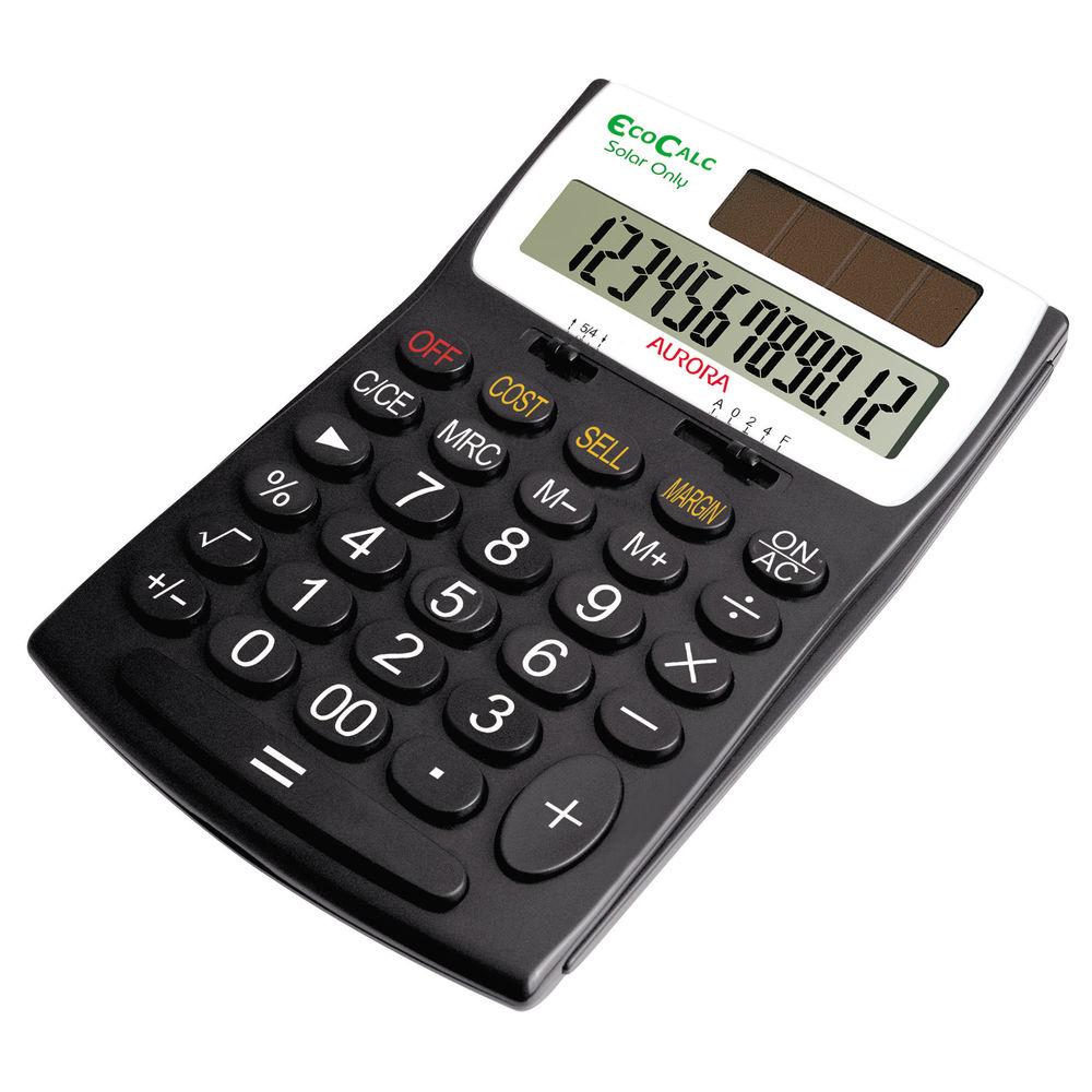 Aurora EC505 Recycled Desktop Calculator, 12 Digit Display - EC505
