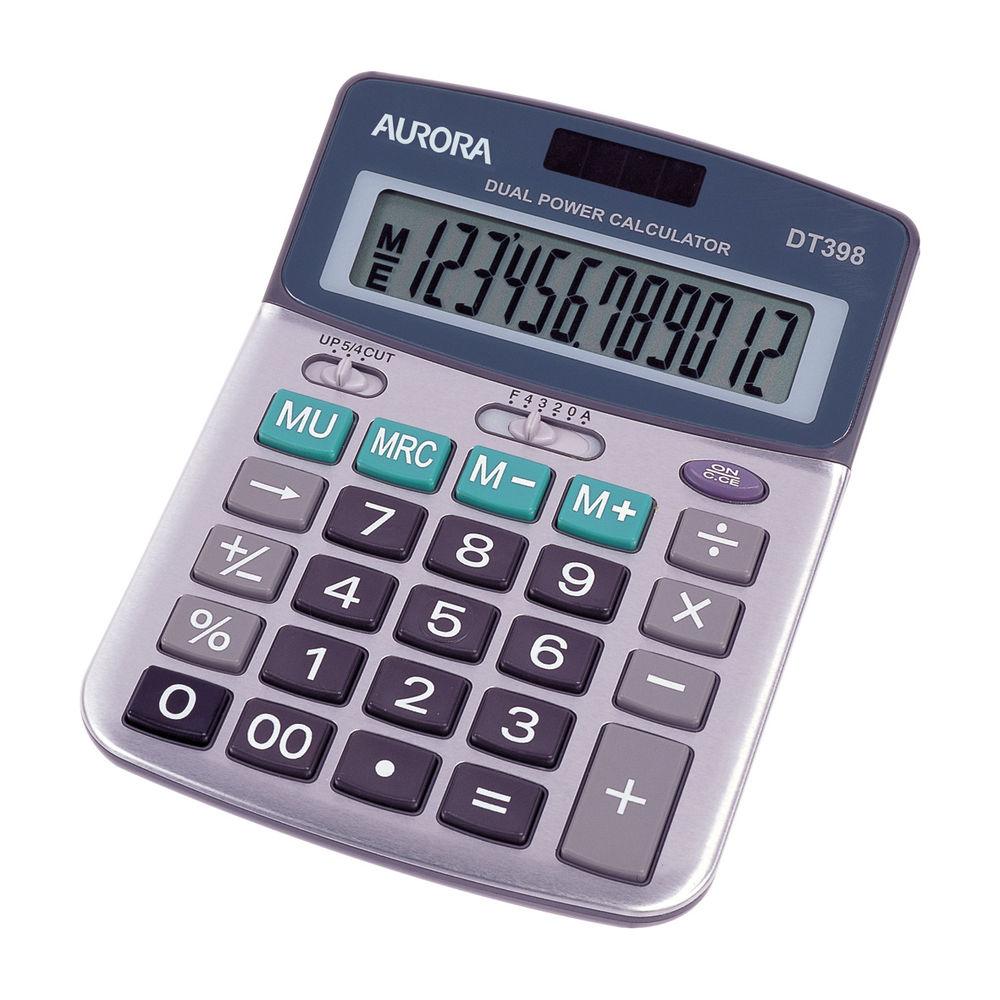 Aurora DT398 Semi Desktop Calculator, 12 Digit Display - DT398