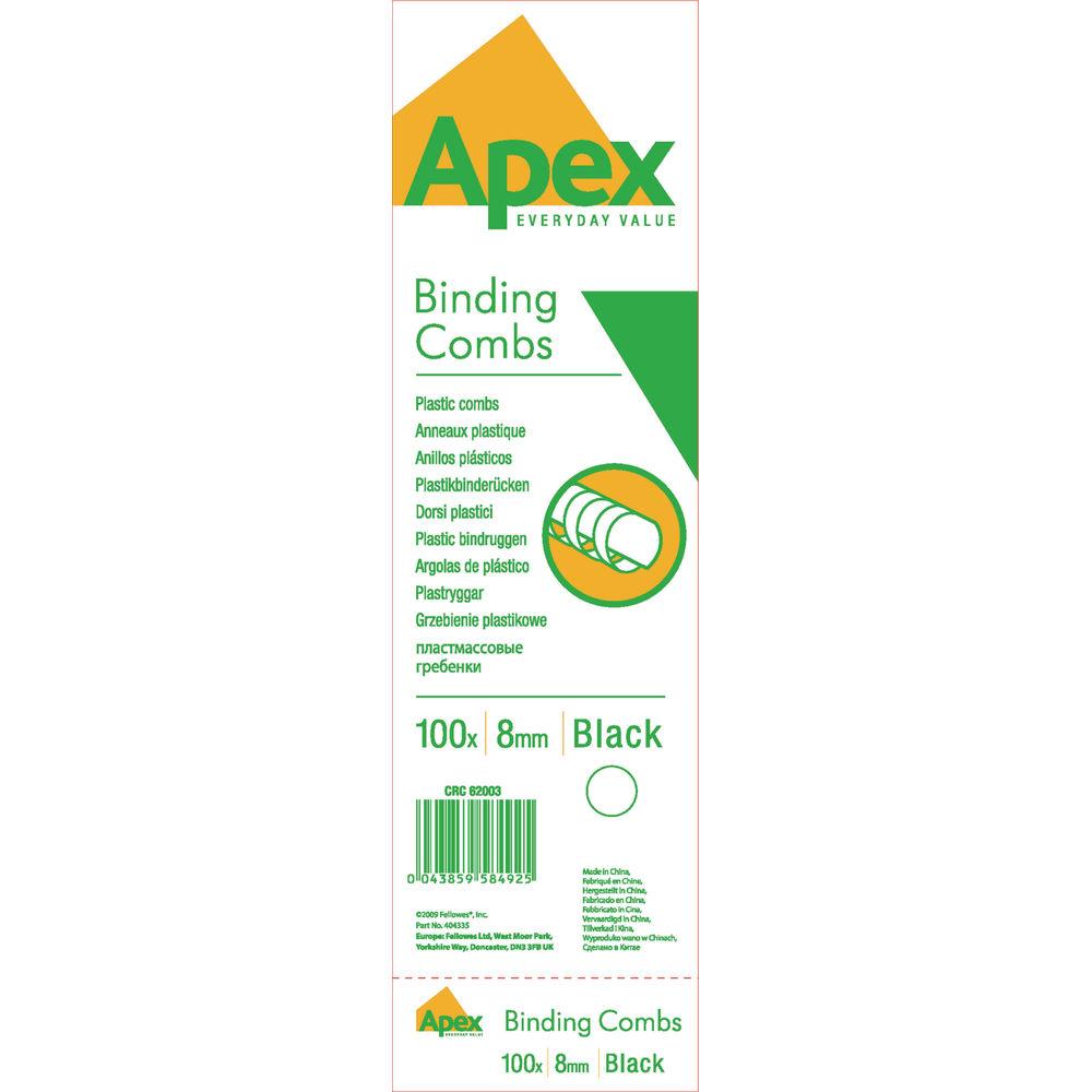Fellowes Apex Black 8mm Plastic Binding Combs, Pack of 100 - BB58492