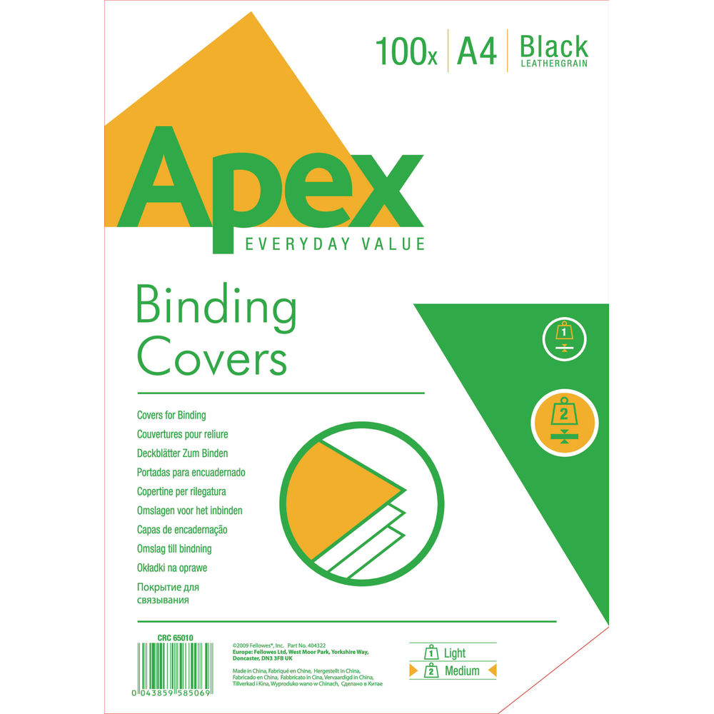 Fellowes Apex A4 Leatherboard Cover Black, Pack of 100 - BB58506