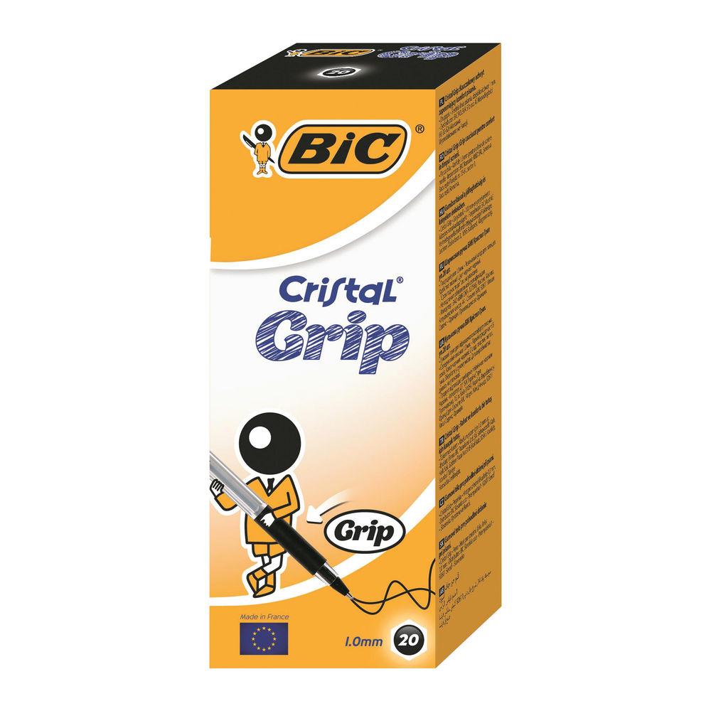 BIC Medium Black Cristal Grip Ballpoint Pens, Pack of 20 - 802800